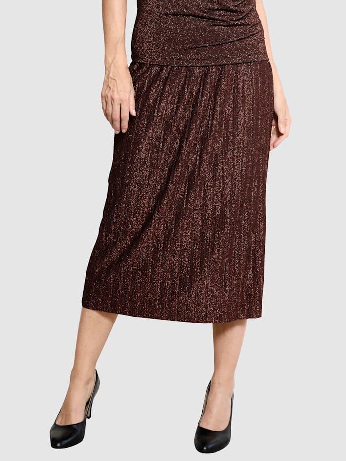 MONA Plisovaná sukně s metalickými vlákny, Černá/Měděná