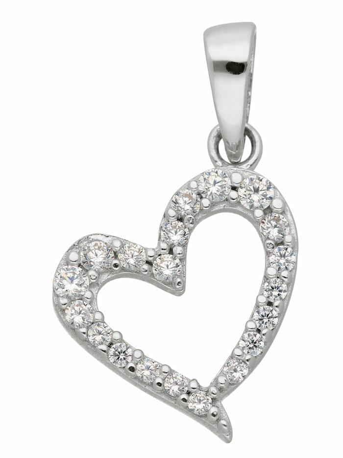 1001 Diamonds 1001 Diamonds Damen Goldschmuck 333 Weißgold Anhänger Herz mit Zirkonia, silber
