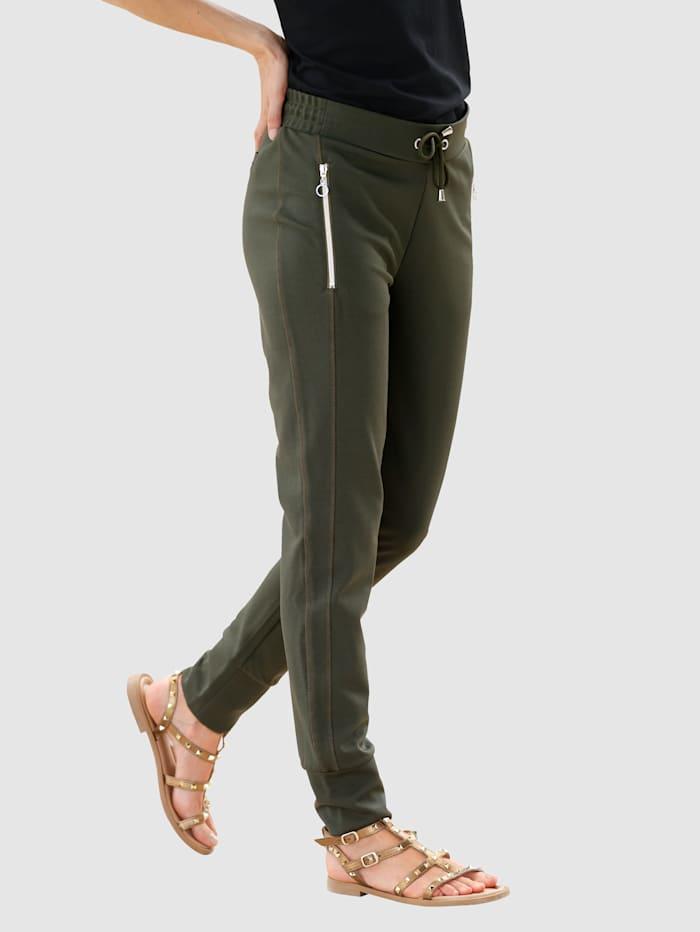 Laura Kent Schlupfhose mit dekorativen Teilungsnähten, Khaki