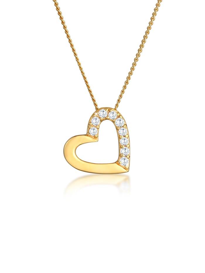 Elli Premium Halskette Herz Zirkonia 585 Gelbgold, Gold
