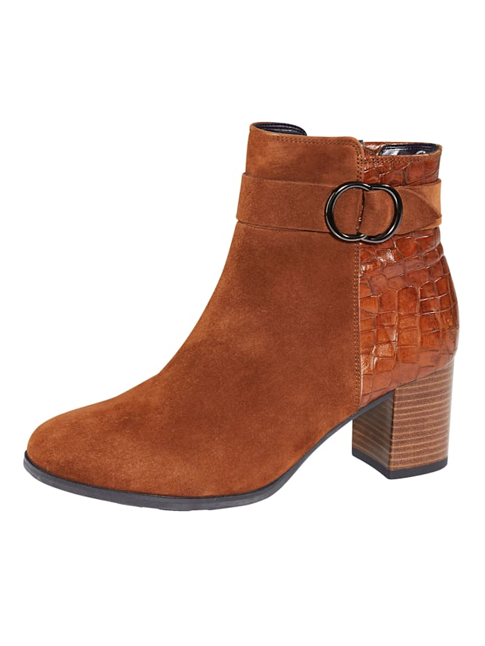 Gabor Ankle boots with chic animal print, Cognac