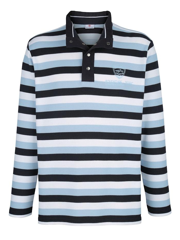 Boston Park Sweat-shirt à motif rayé tissé-teint, Marine/Bleu/Blanc