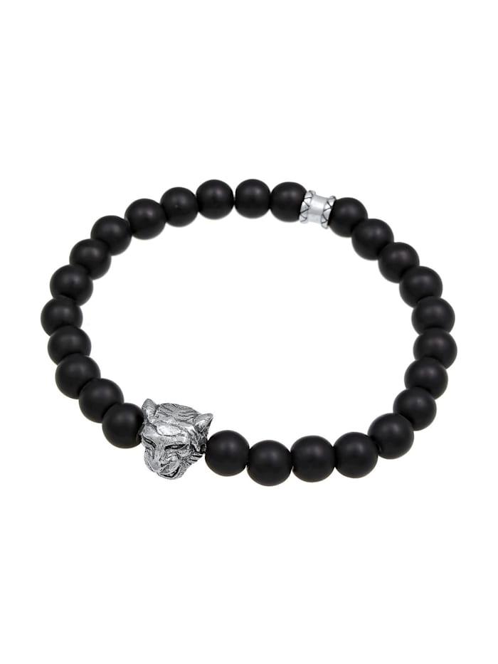 Armband Herren Tiger Kopf Onyx Edelsteine Black 925 Silber