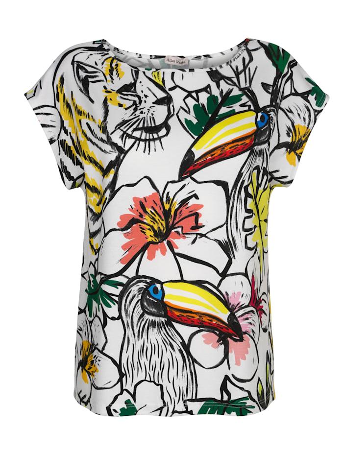 Alba Moda Strandshirt met print in getekende look, Wit