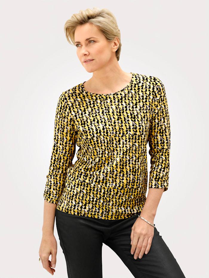 Rabe Shirt van een viscosemix, Geel/Zwart/Grijs