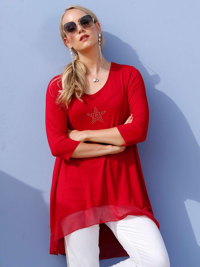 MIAMODA Longshirt mit asymmetrischem Saum, Rot