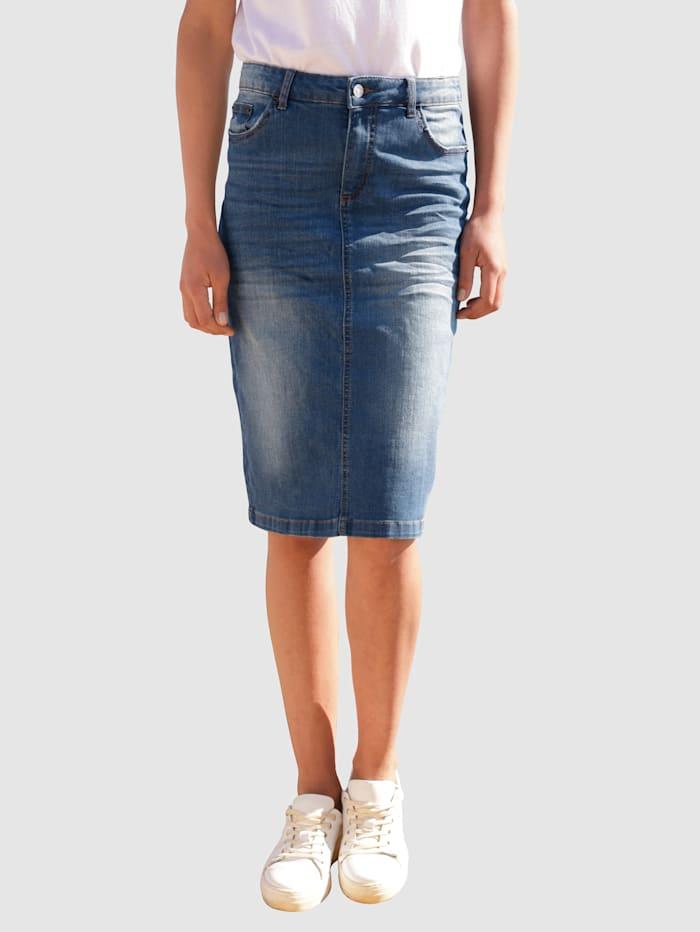 Dress In Jeanskjol med tvättade effekter, Blue bleached