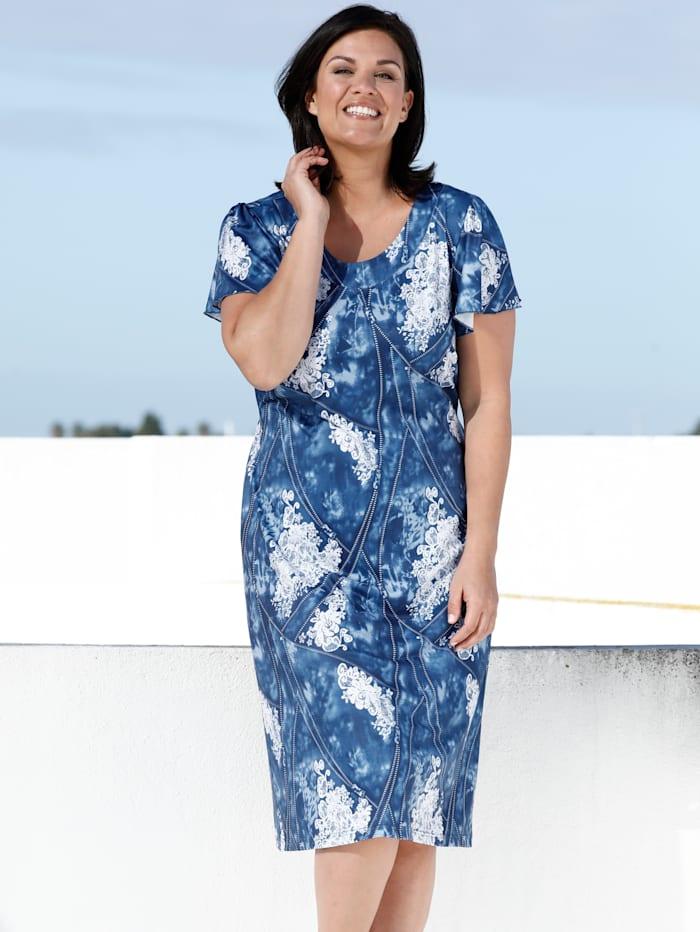 m. collection Jerseykleid mit sommerlichem Druck, Blau/Weiß