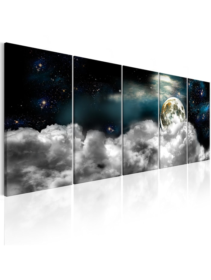 artgeist Wandbild Moon in the Clouds I, Schwarz,Blau,Gold,Grau