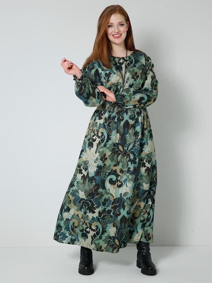 Sara Lindholm Web-Kleid mit gesmokter, elastischer Taille, Khaki/Salbeigrün