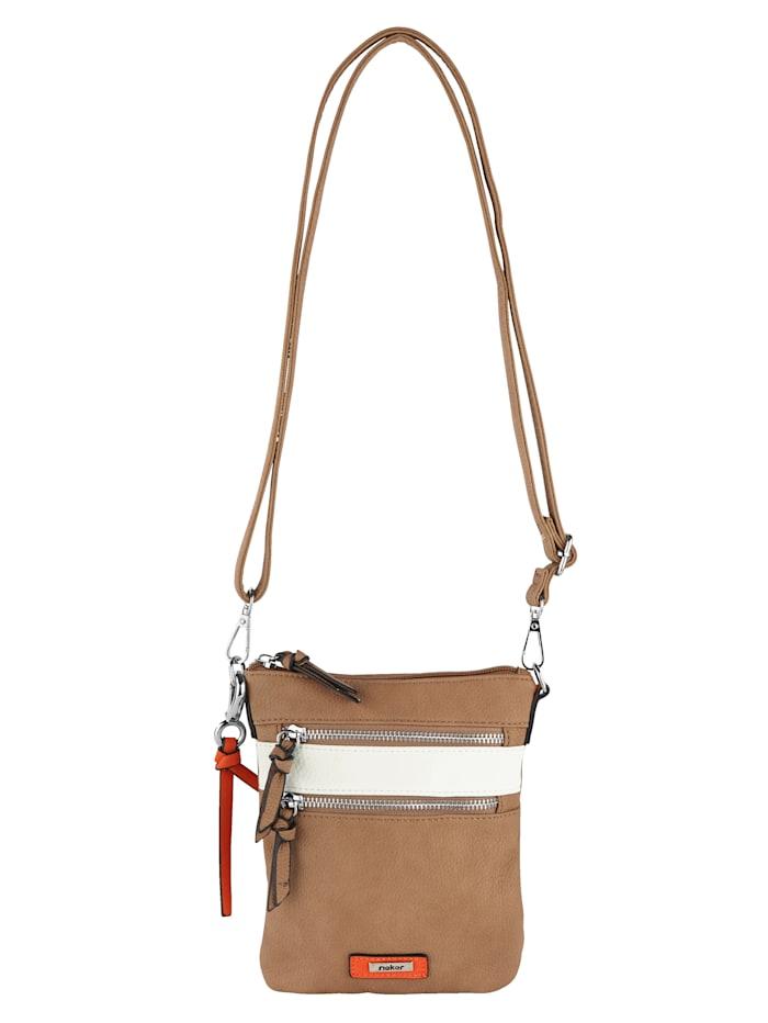 Rieker Shoulder bag with a detachable pendant, Sand/White