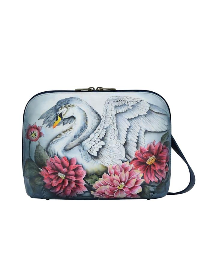 ANUSCHKA Umhängetasche Swan Song aus handbemaltem Leder, bunt