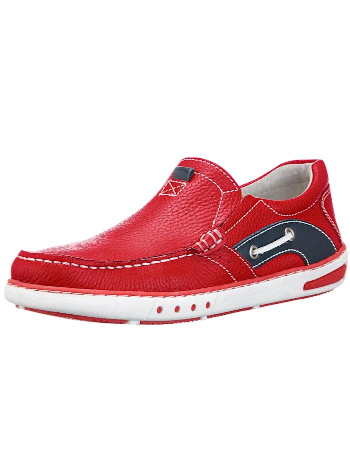 Slipper im Bootsschuh Stil, Rot/Schwarz