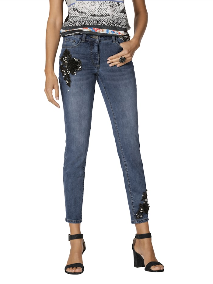 AMY VERMONT Jeans met kraaltjes- en paillettenversiering, Blue bleached