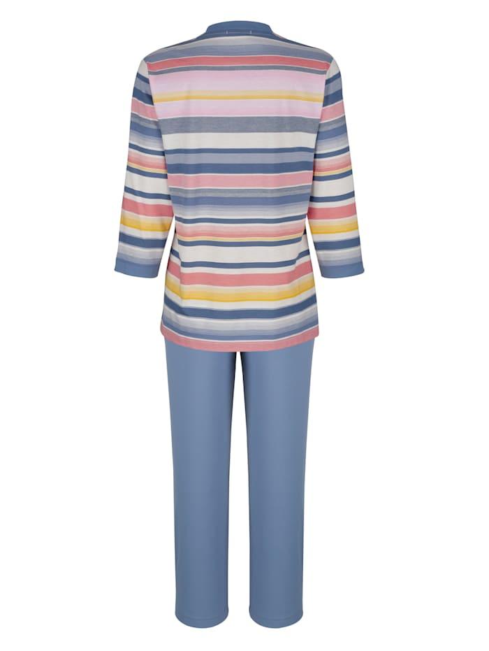 Schlafanzug mit garngefärbtem Oberteil im Ringeldessin