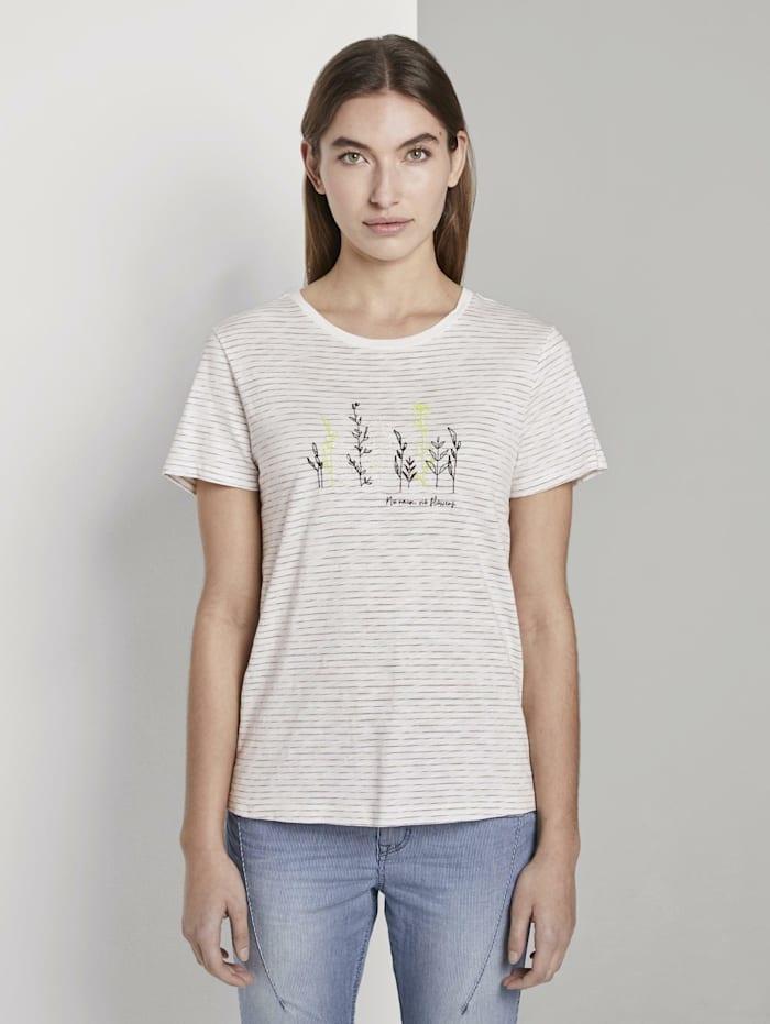 Tom Tailor Gestreiftes T-Shirt mit floralem Print, offwhite olive thin stripe