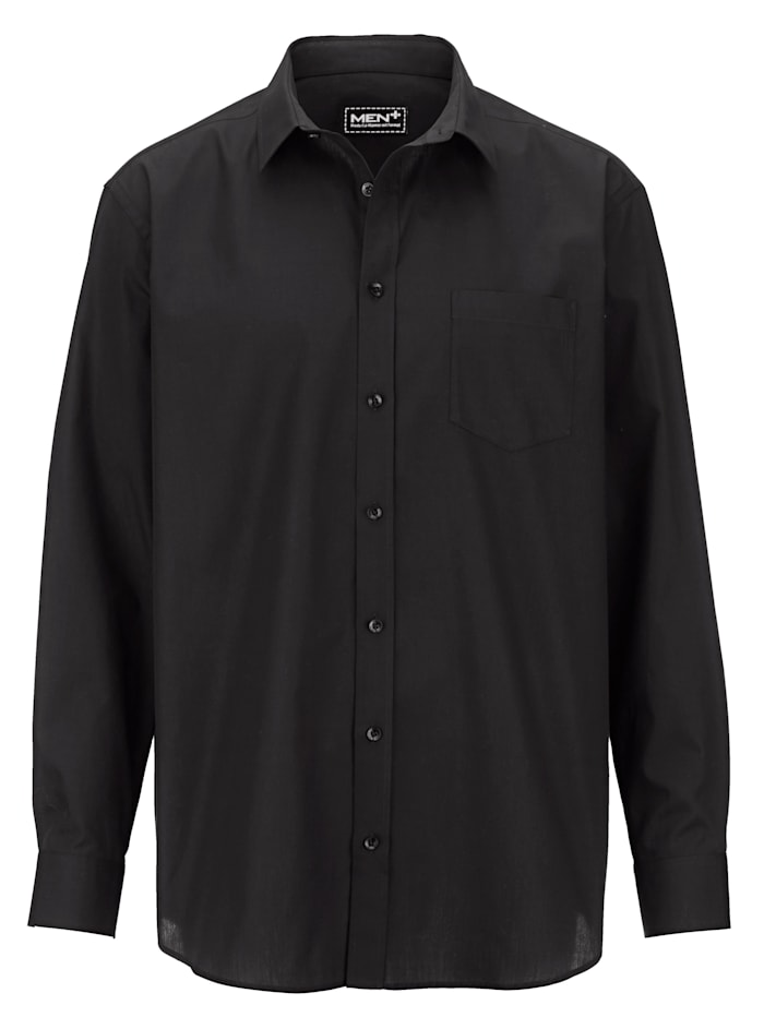 Men Plus Hemd aus reiner Baumwolle, Schwarz