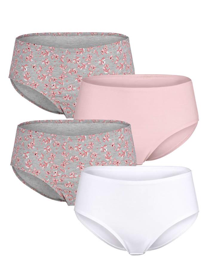 Blue Moon Taillenslips mit hübschem Floraldruck, 1x rosé, 1x weiß, 2x grau/rose/weiß
