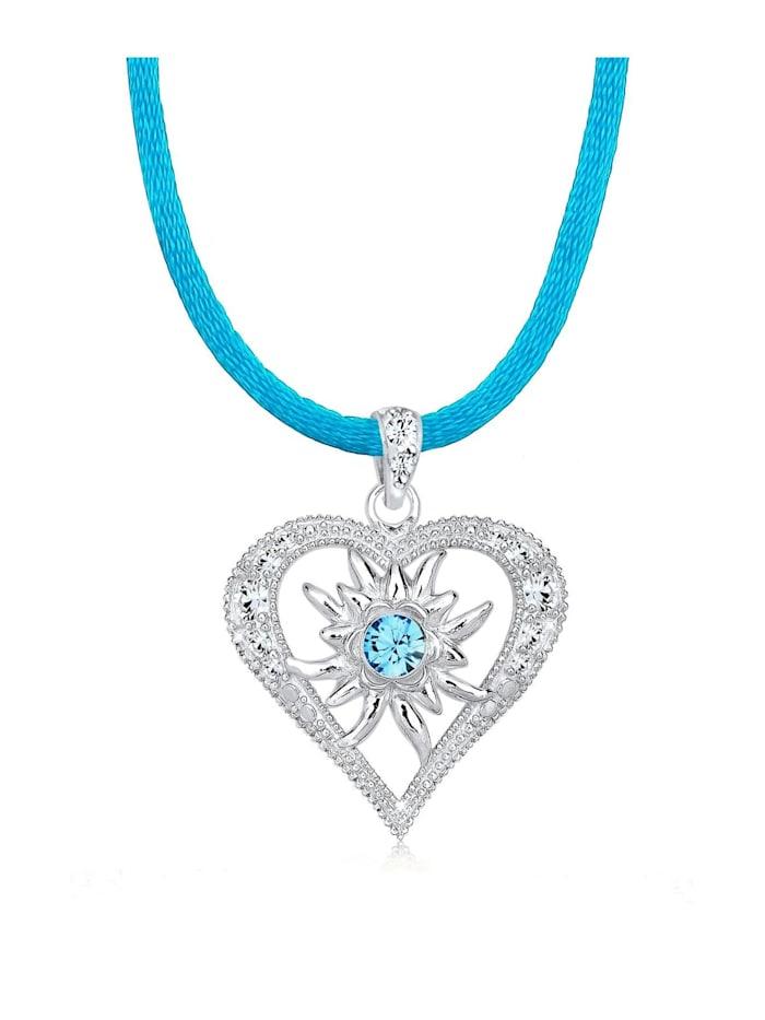 Elli Halskette Herz Edelweiss Swarovski® Kristalle 925 Silber, Hellblau