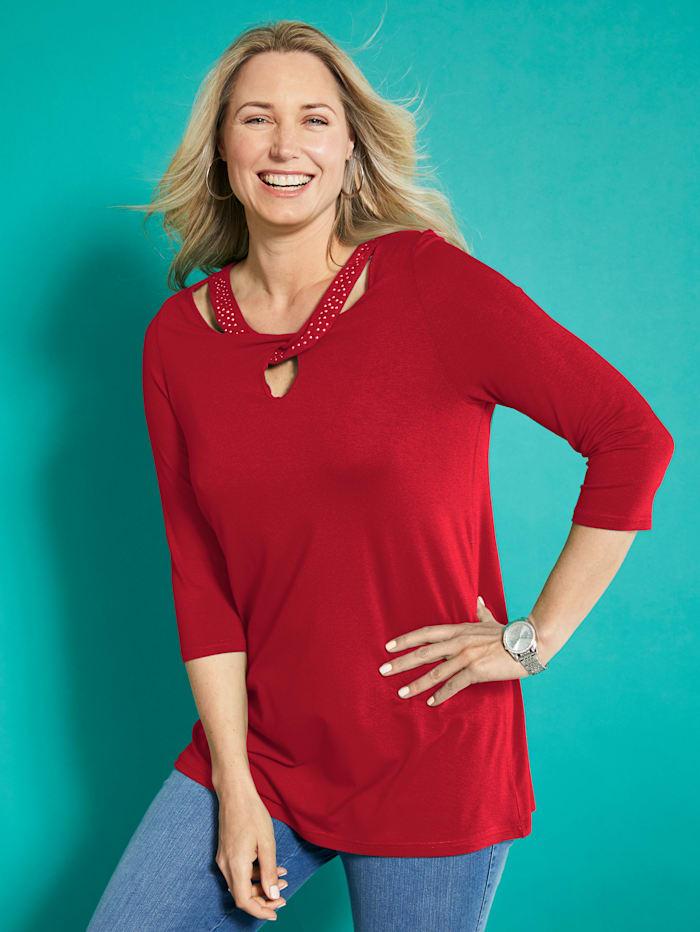 MIAMODA Shirt mit ausgefallenem Ausschnitt, Rot