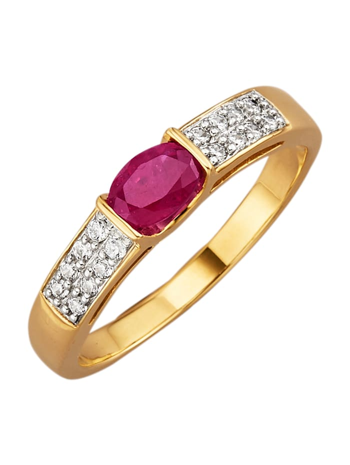 Bague en or jaune 375, Rouge