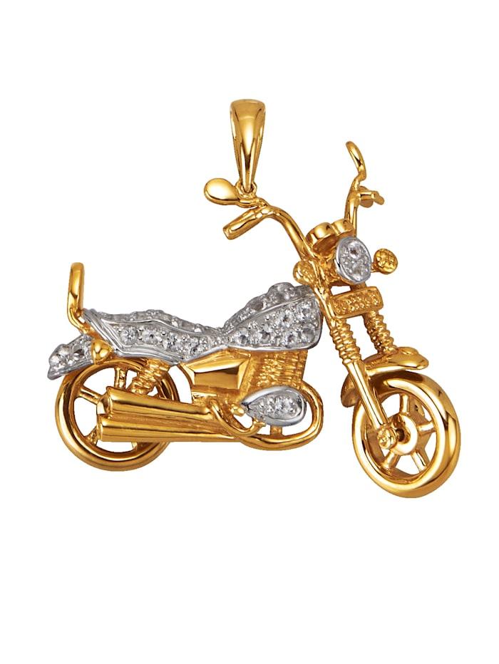Diemer Gold Motorrad-Anhänger mit Weißtopasen, Weiß