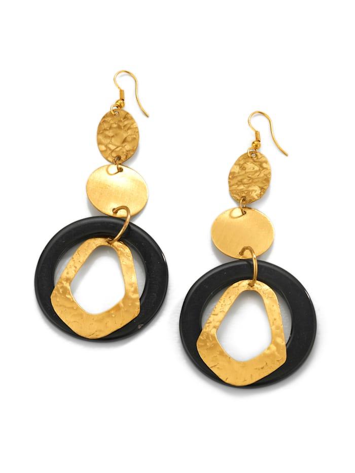 Alba Moda Boucles d'oreilles - la touch finale de vos tenues, Noir/Coloris or jaune