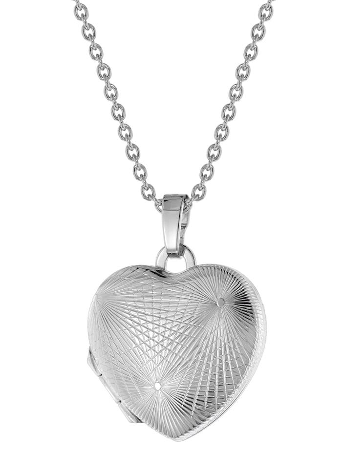 trendor Damen-Halskette mit Herz-Medaillon Silber 925, Silberfarben