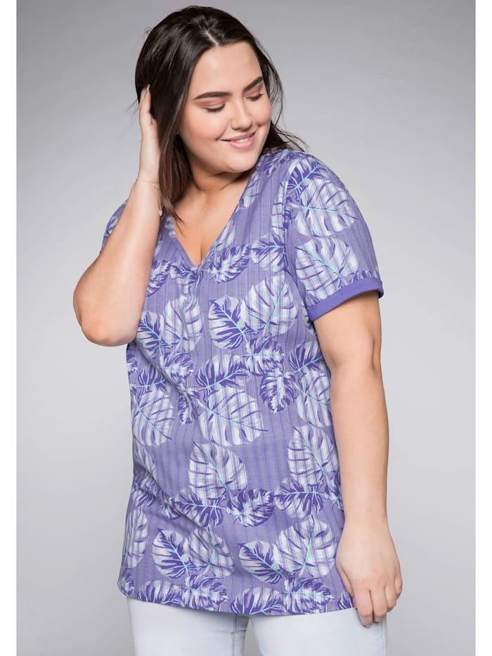 Sheego T-Shirt mit Alloverdruck, lila bedruckt