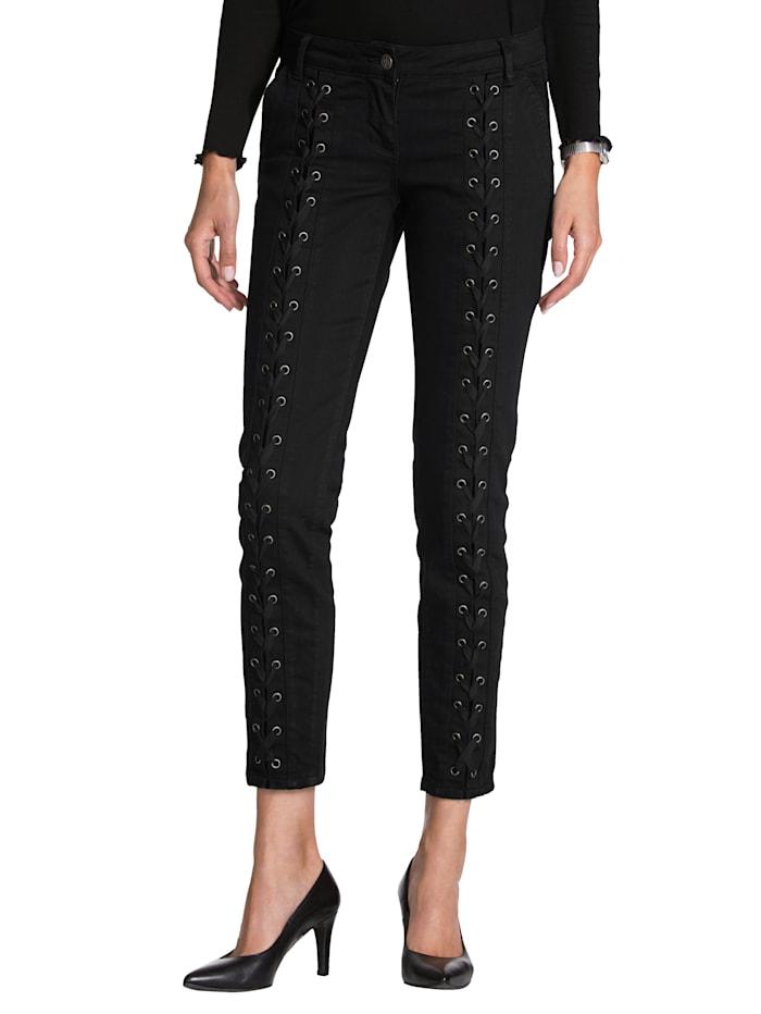 AMY VERMONT Jeans mit Schnürungen, Schwarz
