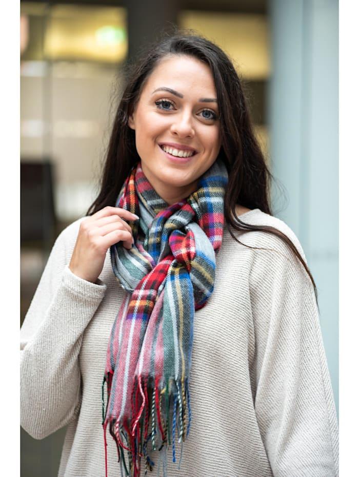 Collezione Alessandro Italienischer Schal Torino mit modernem Karo, Made in Italy, grau