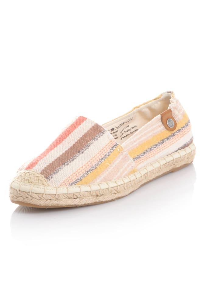 Tamaris Espadrille aus Textil, Natur/Gelb/Orange