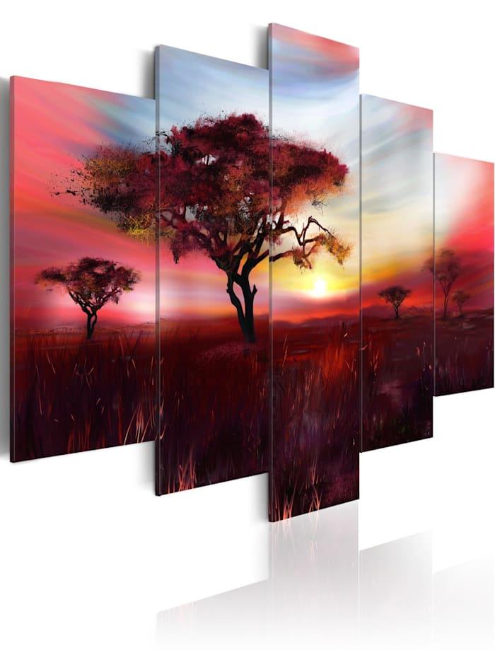 artgeist Wandbild Wild savannah, Gelb,Himmelblau,Braun,Rot