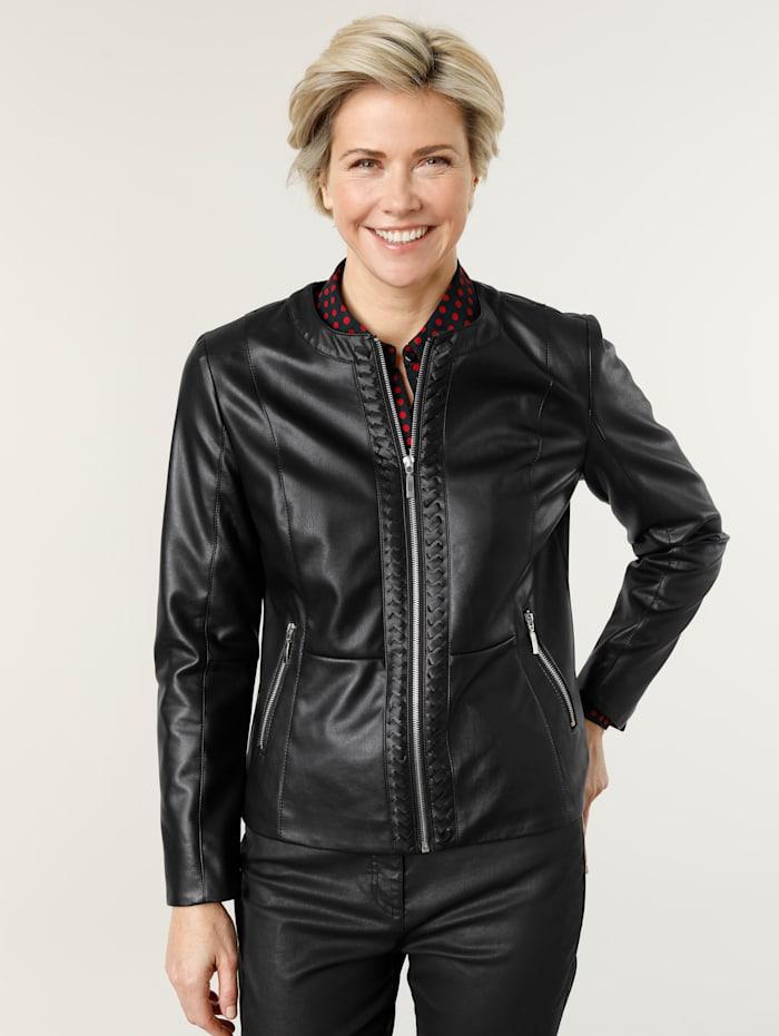 MONA Faux leather blazer, Black