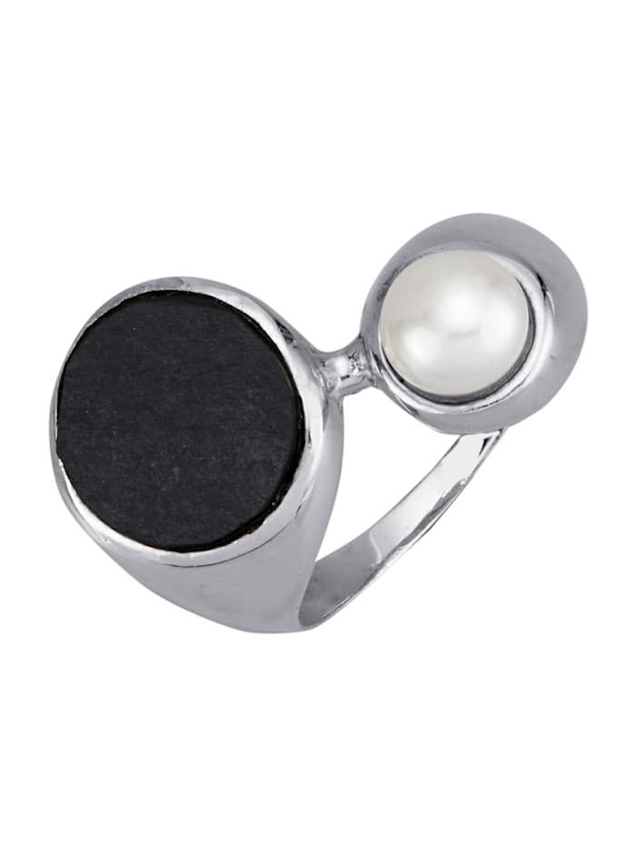 Amara Perles Bague avec perles de culture d'eau douce et ardoise, Noir