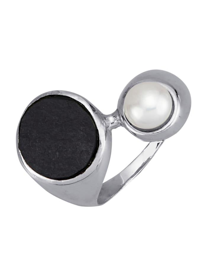 Diemer Perle Damenring mit Süßwasser-Zuchtperle und Schiefer, Schwarz