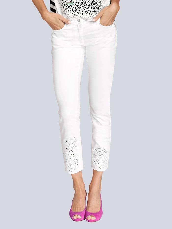 SPORTALM Jeans mit Lochstickerei am Saum, Weiß