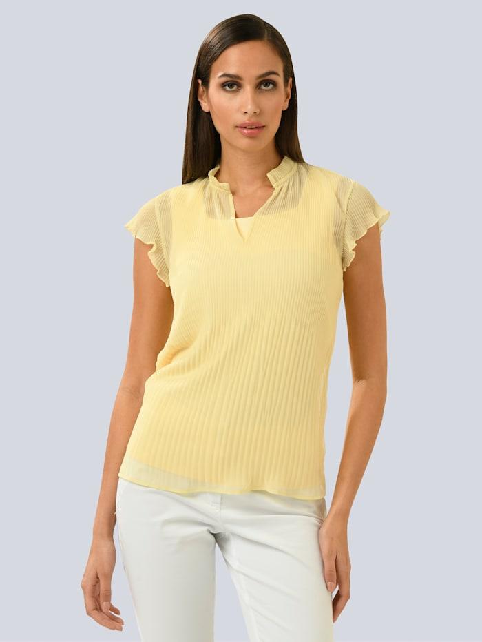 Alba Moda Bluse aus plissierter Ware, Gelb