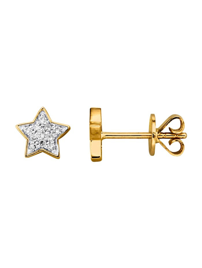 Diemer Highlights Stern-Ohrstecker mit Diamanten, Gelbgoldfarben