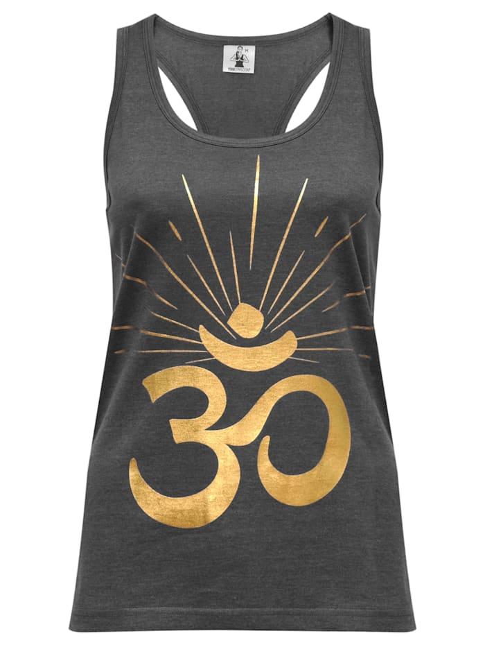 "Yoga-racerback-top ""om Sunray"" - Darkgrey/gold"