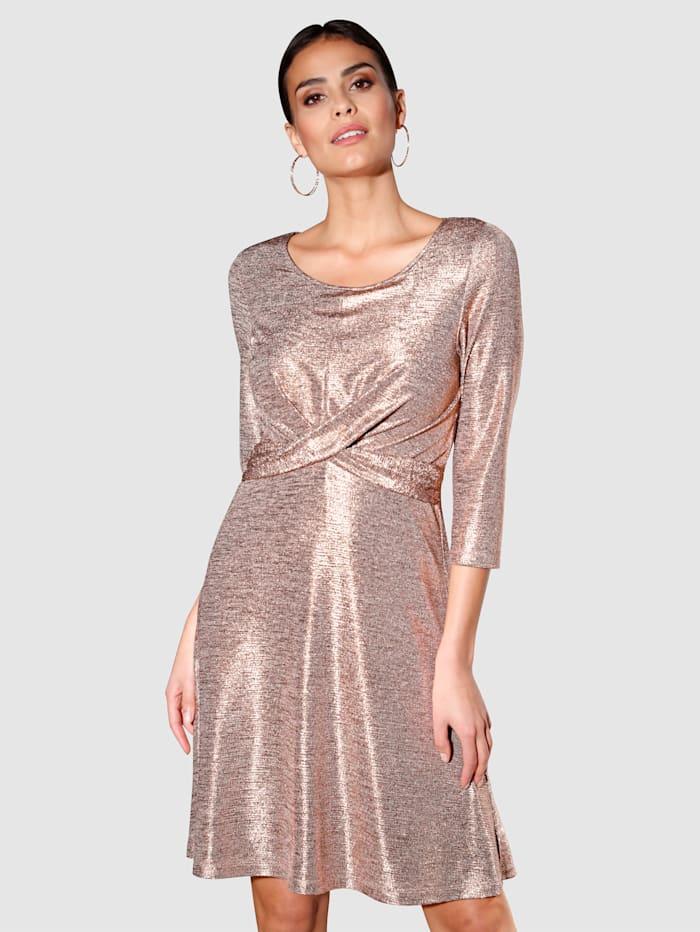 Alba Moda Kleid in Glitzer-Optik, Rosé/Goldfarben