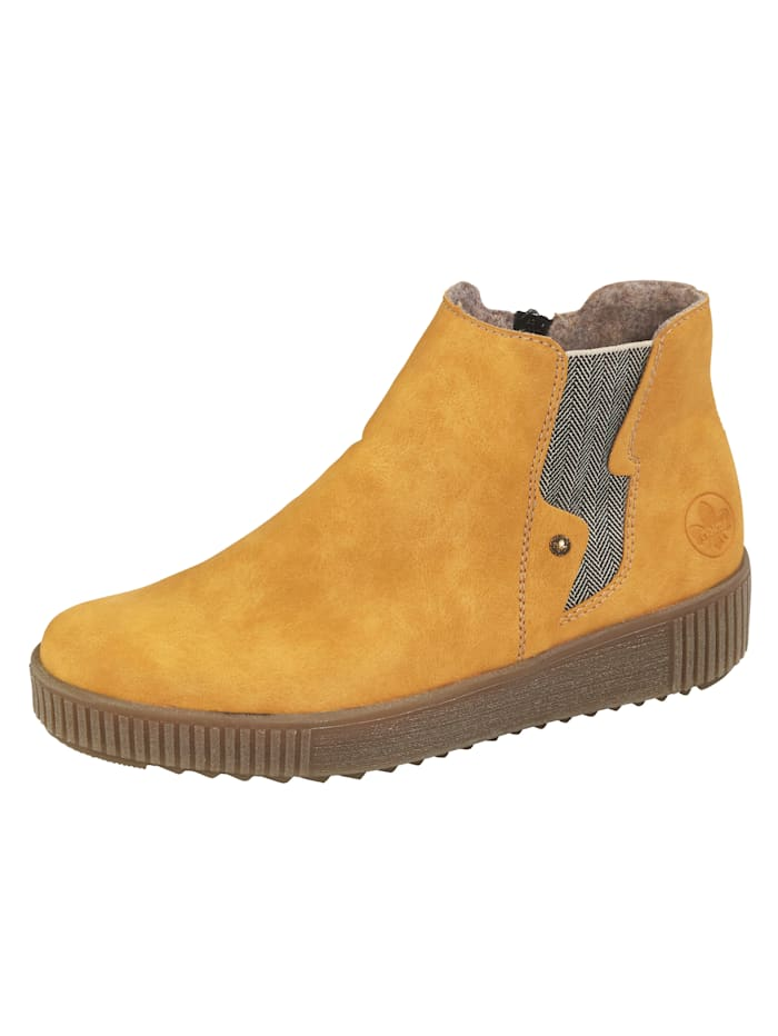Rieker Ankle boots with elasticated inserts, Mustard