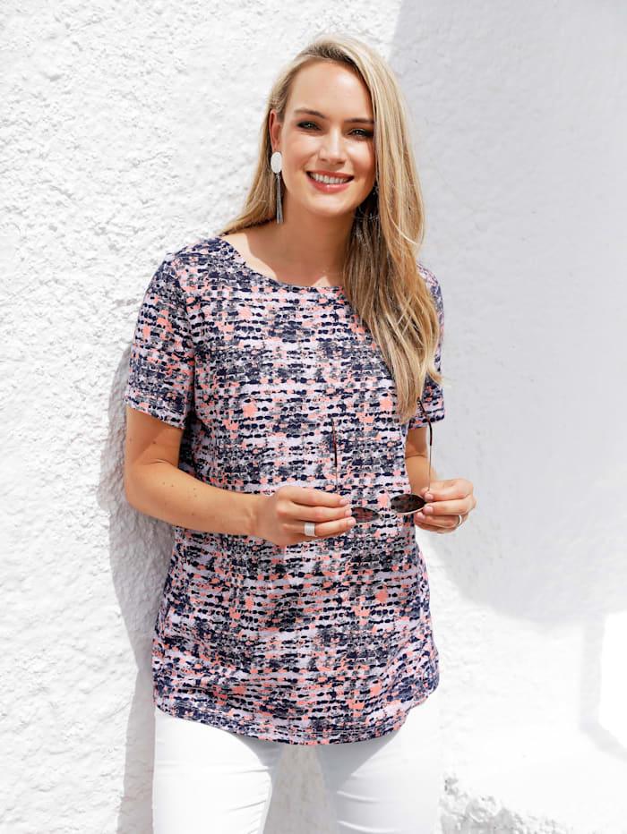 MIAMODA Shirt met vrouwelijke halslijn, Blauw