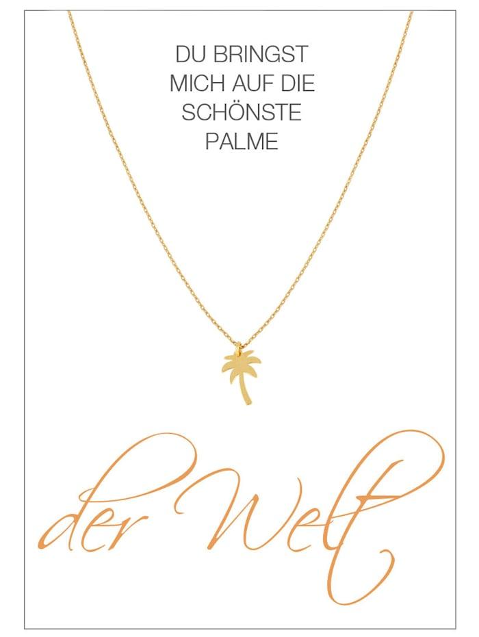 Herzkarte Collier Feuille de Palmier, Coloris or jaune