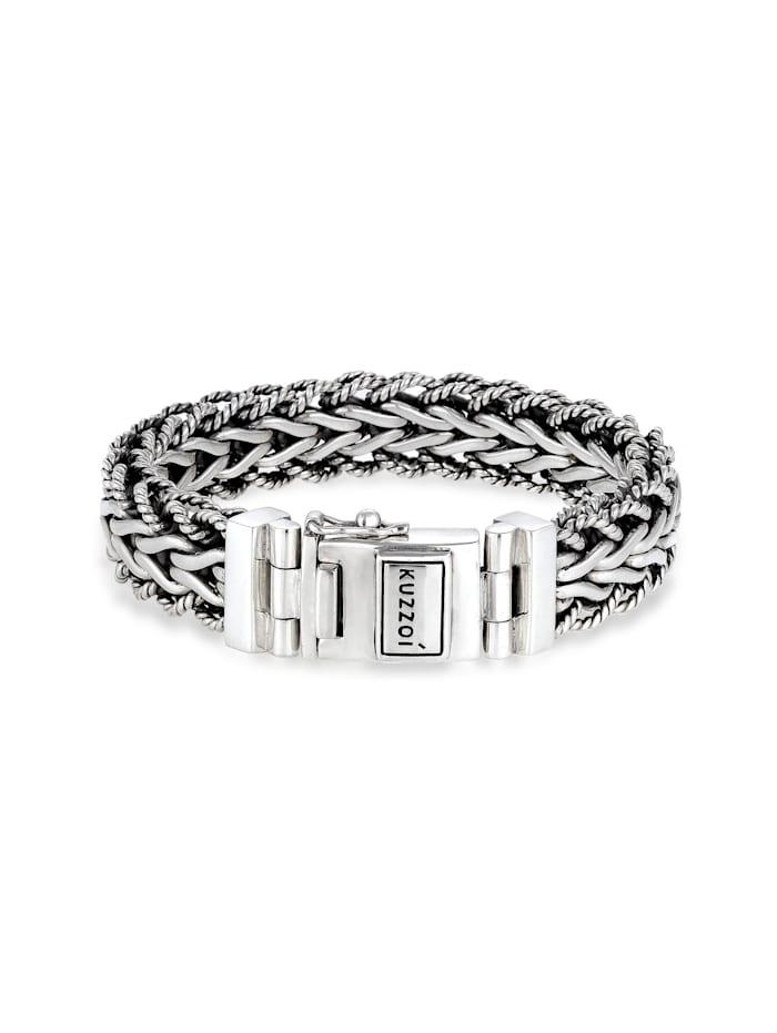 Kuzzoi Armband Herren Panzerarmband Gliederkette 925Er Silber, Silber