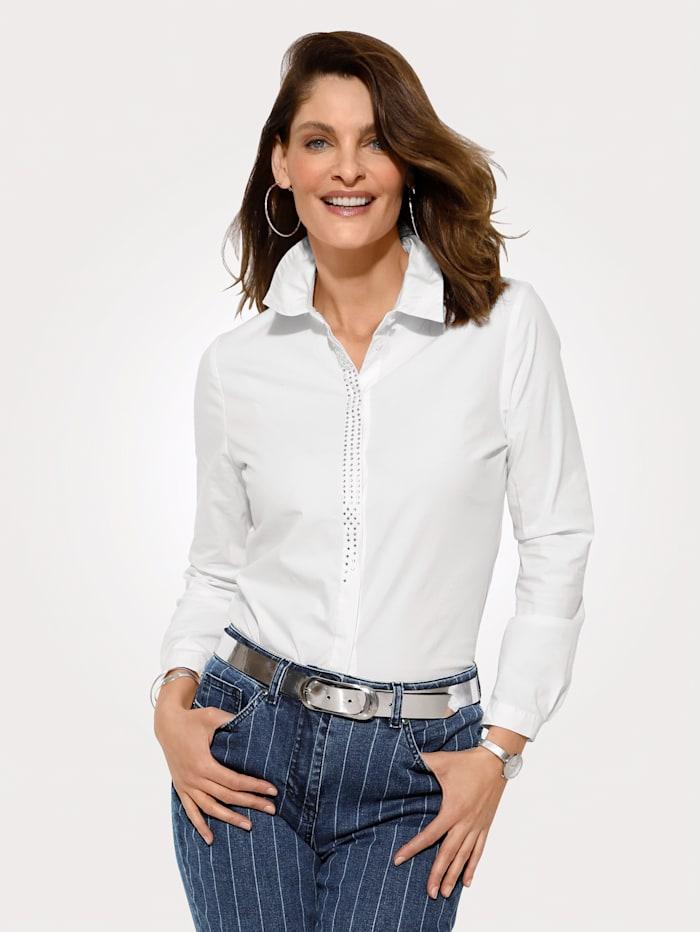 MONA Bluse mit verdeckter Knopfleiste, Weiß