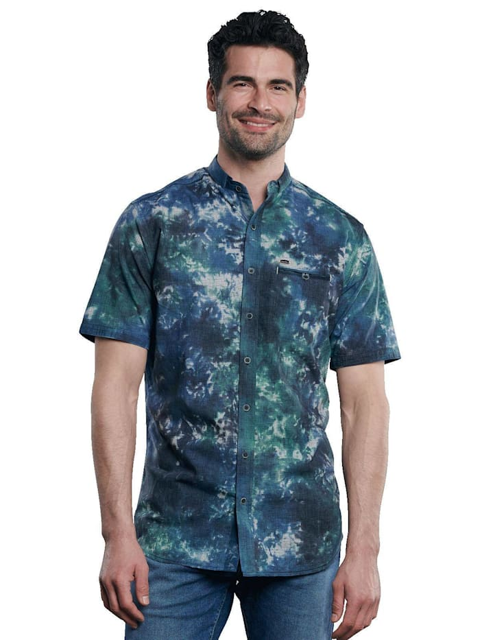 Engbers Kurzarm-Hemd-gemustert, Tannengrün