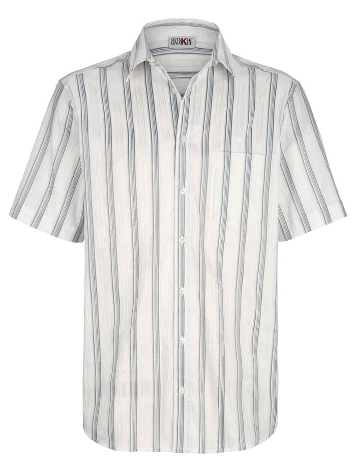 Roger Kent Hemd mit Glanzstreifen, Weiß/Silberfarben