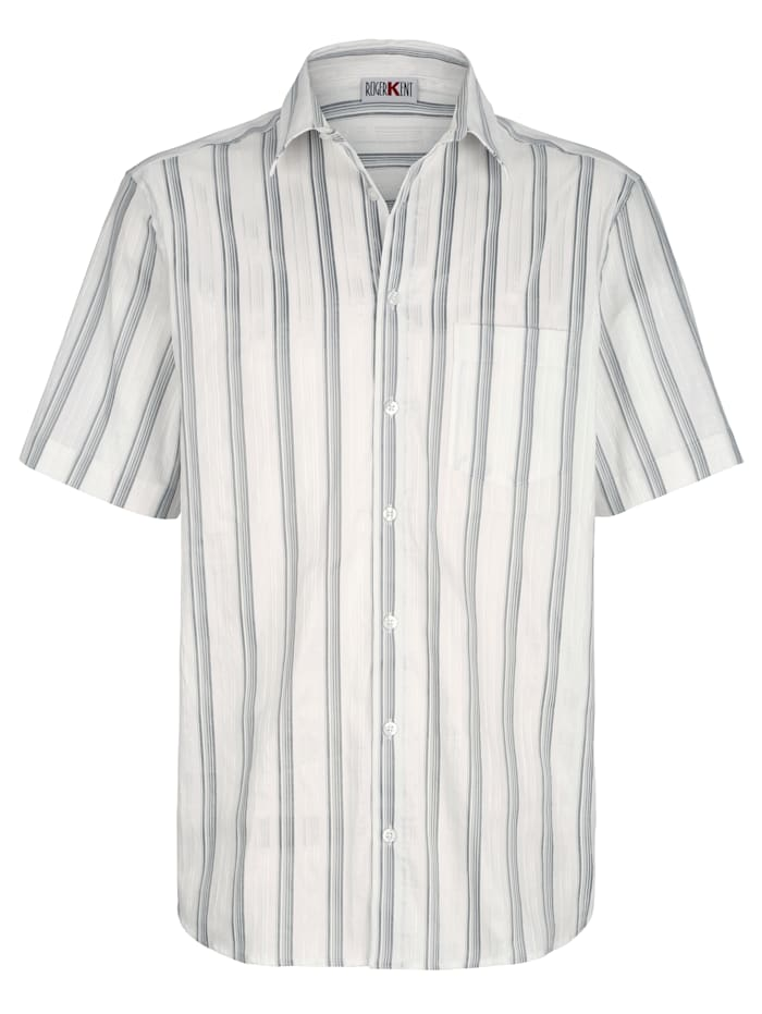 Roger Kent Košile slesklými proužky, Bílá/Stříbrná