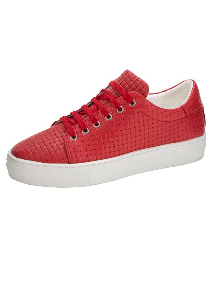Liva Loop Sneaker in mooie gevlochten look, Rood